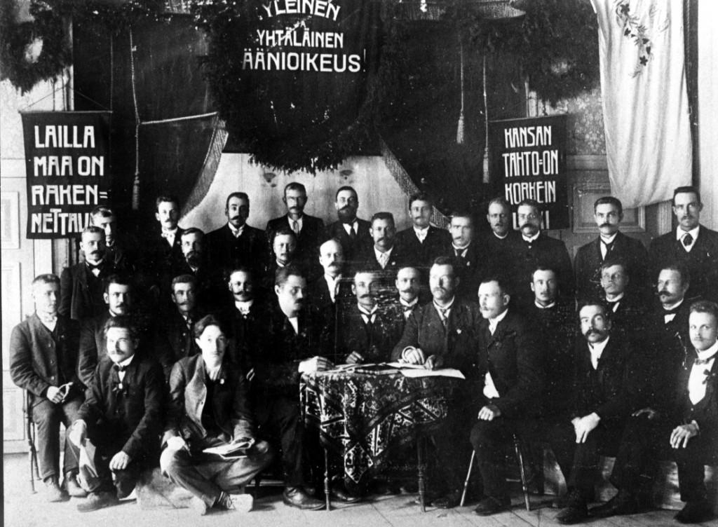 Suomen Puutyöväen liiton perustava kokous vuonna 1905