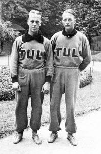 Nyrkkeilijä ja varastonhoitaja Tauno Helin sekä keihäänheittäjä ja levyseppä Erkki Autonen. Molemmat voittivat kultaa Antwerpenin työläisolympialaisissa vuonna 1937. Työväenmuseo Werstas.