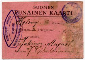 Punakaartin jäsenkortti. Työväenmuseo Werstas.