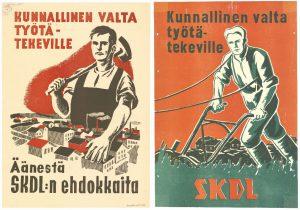 SKDL:n vaalimainoksissa kuvattiin usein työläisiä. Kuvassa kaupunki- ja maaseututyöväestölle suunnatut kunnallisvaalimainokset 1940-luvulta.